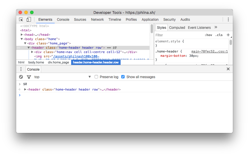 Typing $0 in the Chrome dev tools console will grab a reference to the currently selected element.