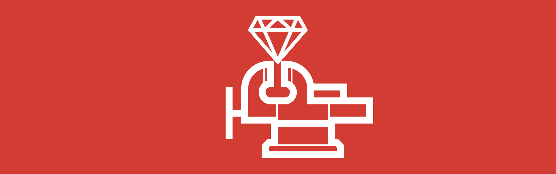 An icon of a vice squeezing a ruby gem