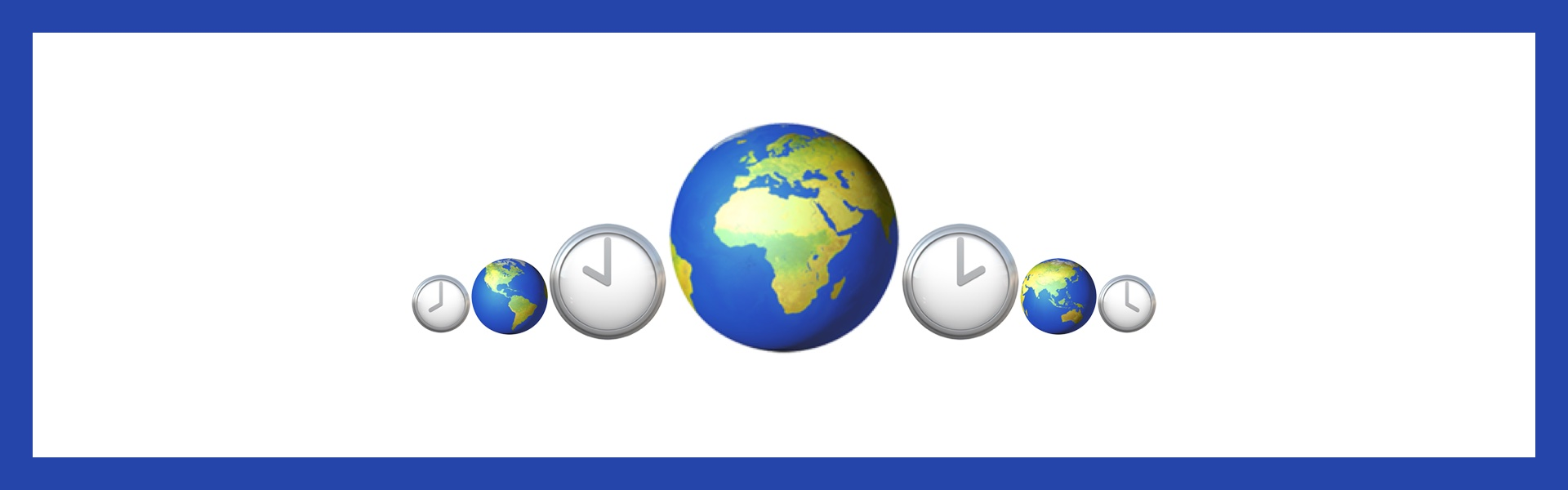 Different sides of the world offset by clocks showing different times