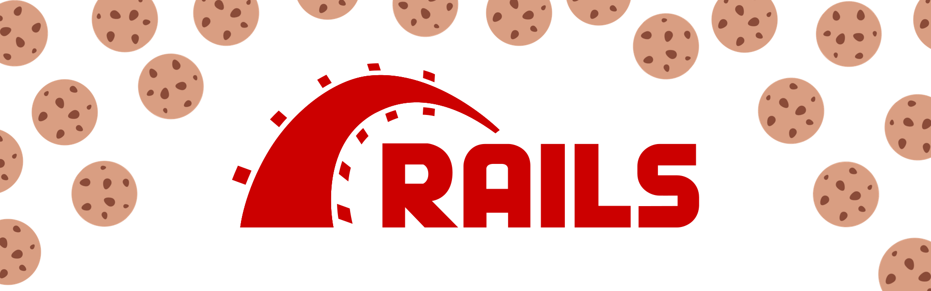 The Ruby on Rails logo surrounded by cookies