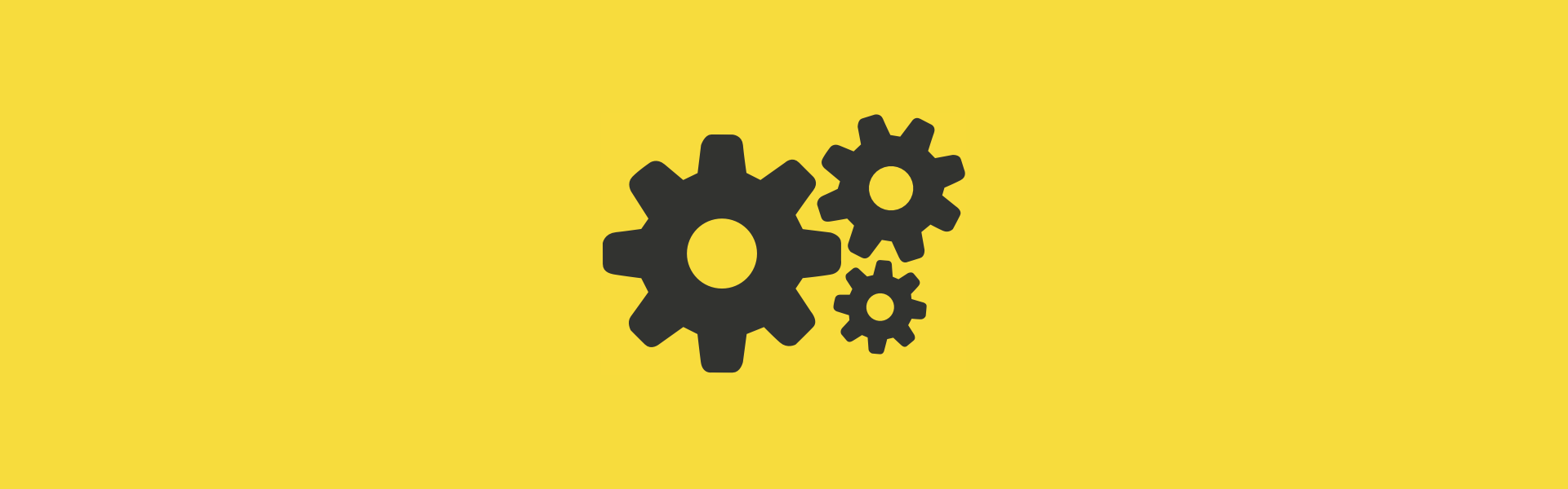 Three cogs on a yellow background, intended to represent the idea of the Service Worker