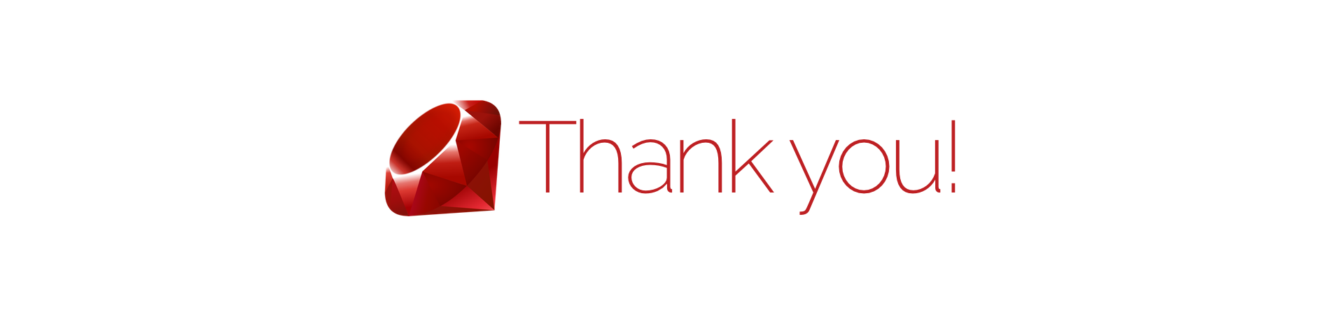 The Ruby logo and the text 'Thank you'
